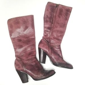 FRYE Betty Inside Zip Leather Boots Bordeaux 8